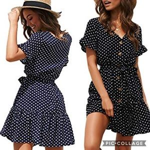 Yingkis | Navy polka dot ruffle swing dress size M